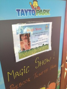 magic shows in tayto park sign